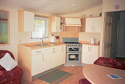 holiday caravan kitchen area
